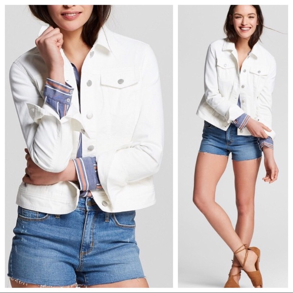fc8ab768a2f NWT Women s Denim White Jean Jacket Target